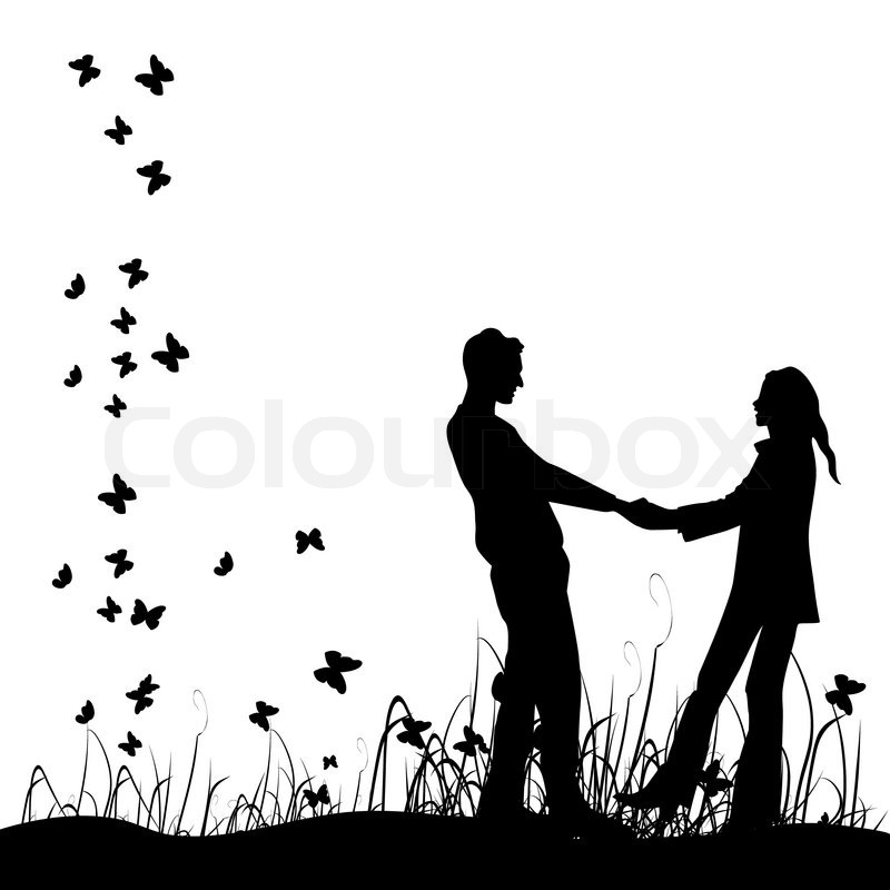 Cute Couples Holding Hands Hd Wallpapers Couple On Meadow Black Silhouette Stock Vector Colourbox