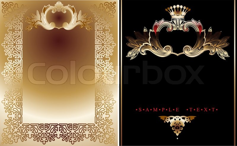 Victorian Wallpaper Black Two Gold And Black Ornate Royal Backgrounds Stock Vector
