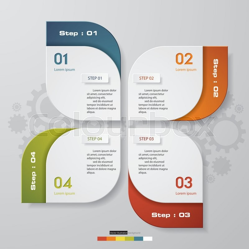 4 steps chart layout for sample textdata Design clean template