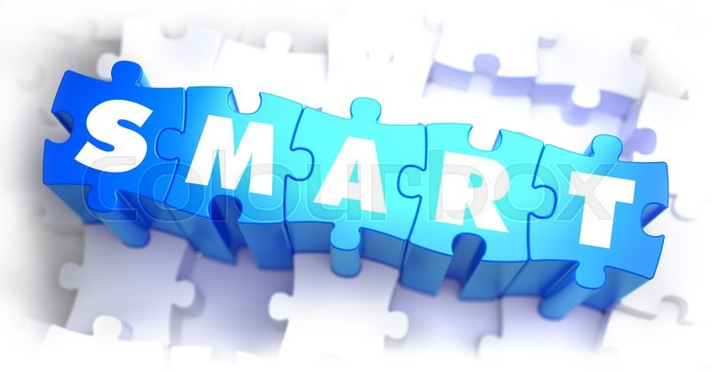 Smart - White Word on Blue Puzzles on Stock Photo Colourbox