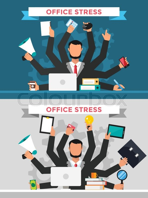 Office job stress work vector Stock Vector Colourbox