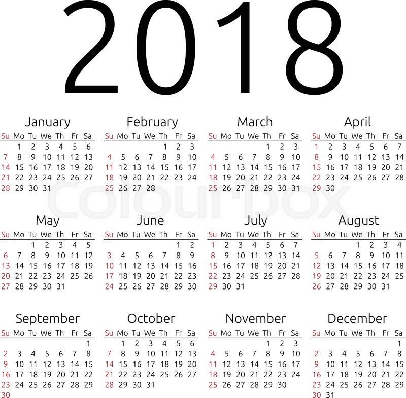 Simple 2018 year calendar, week starts Stock Vector Colourbox
