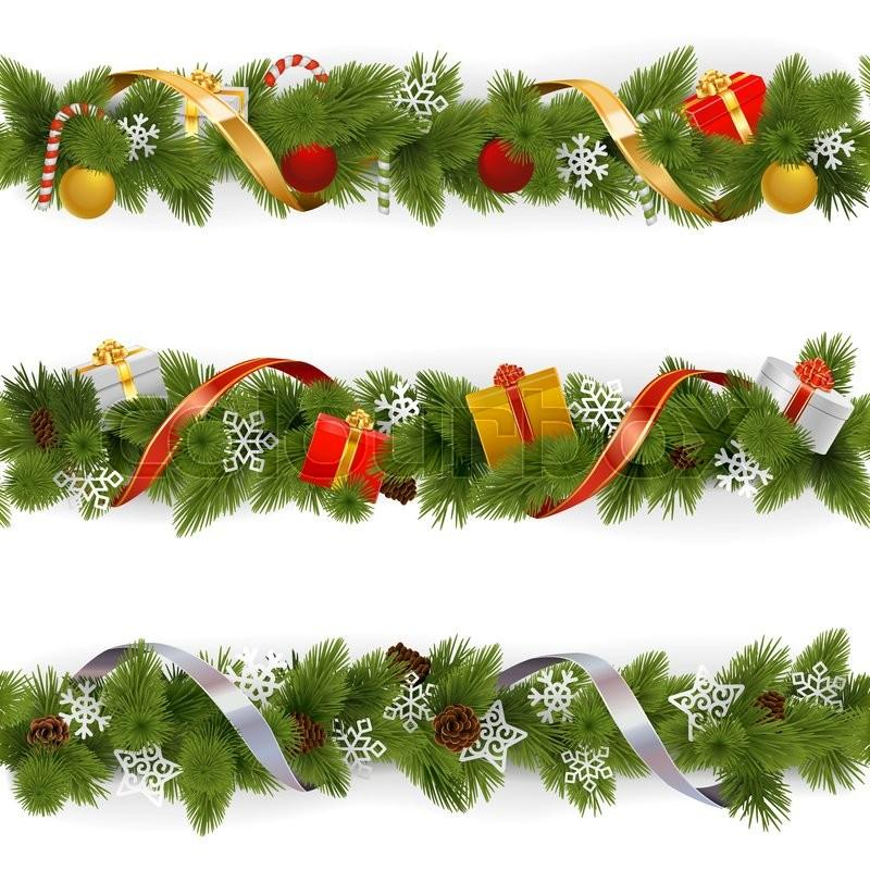 Vector Christmas Border Set 3 isolated on white background Stock - borders for christmas letter