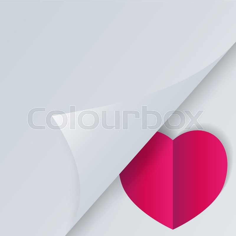 Valentines day background with space for text, big red paper heart