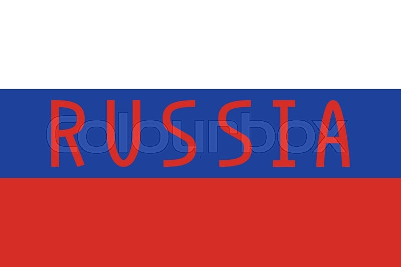 Russian flag in correct proportions and colors with word Russia - word flag