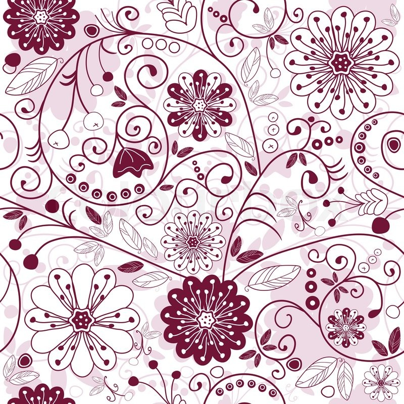 Florale Muster White And Purple Seamless Floral Pattern With Flowers ...