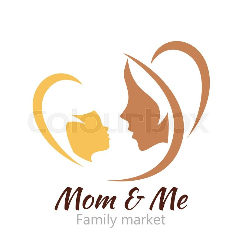 Logo mother and her baby Healthcare or baby shop logo Template for - text logo template