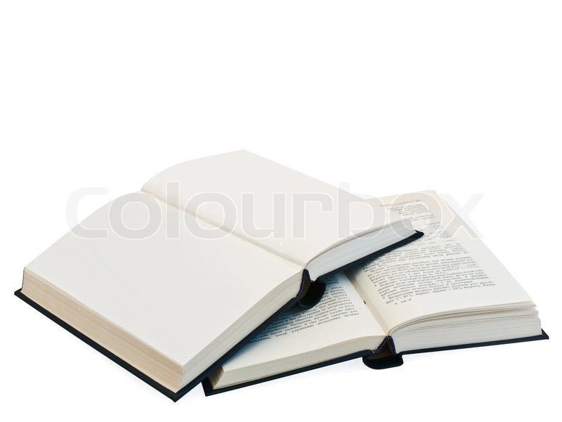 Two open books and clear pages against Stock Photo Colourbox