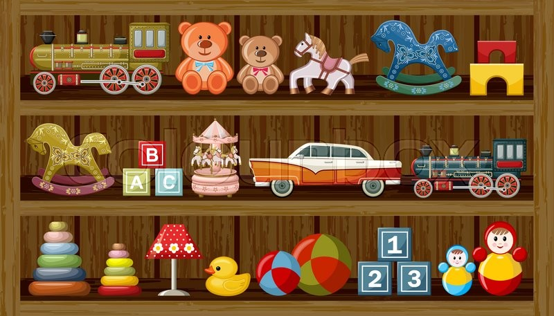 Wooden Show Window Of Shop With Vintage Toys Vector