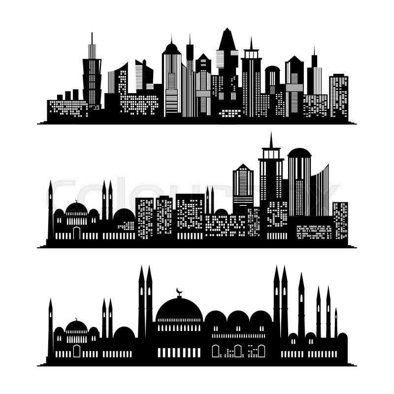 Set of skyscraper sketches City Stock Vector Colourbox