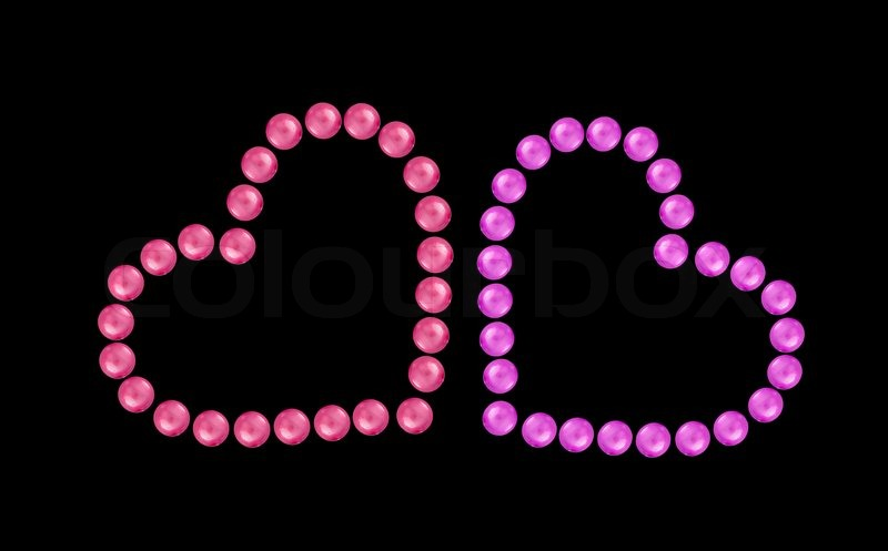 Wallpaper Paris Pink Cute Hearts From Pink And Red Beads Isolated On Black