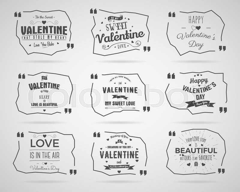 Valentine day Watercolor, ink, splash Quote blank templates Quote