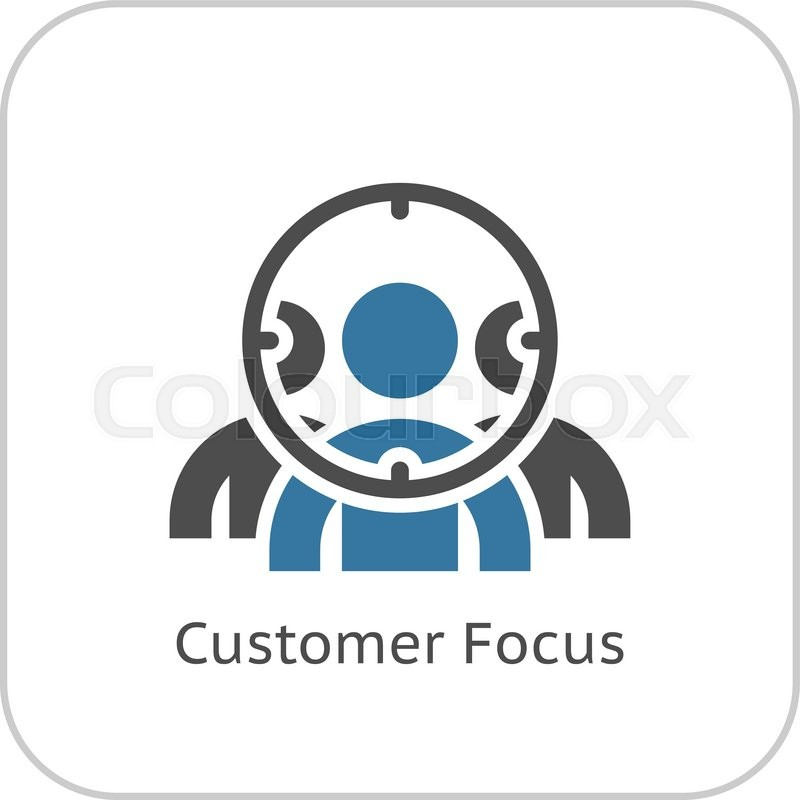 Customer Focus Icon Flat Design Business Concept Isolated