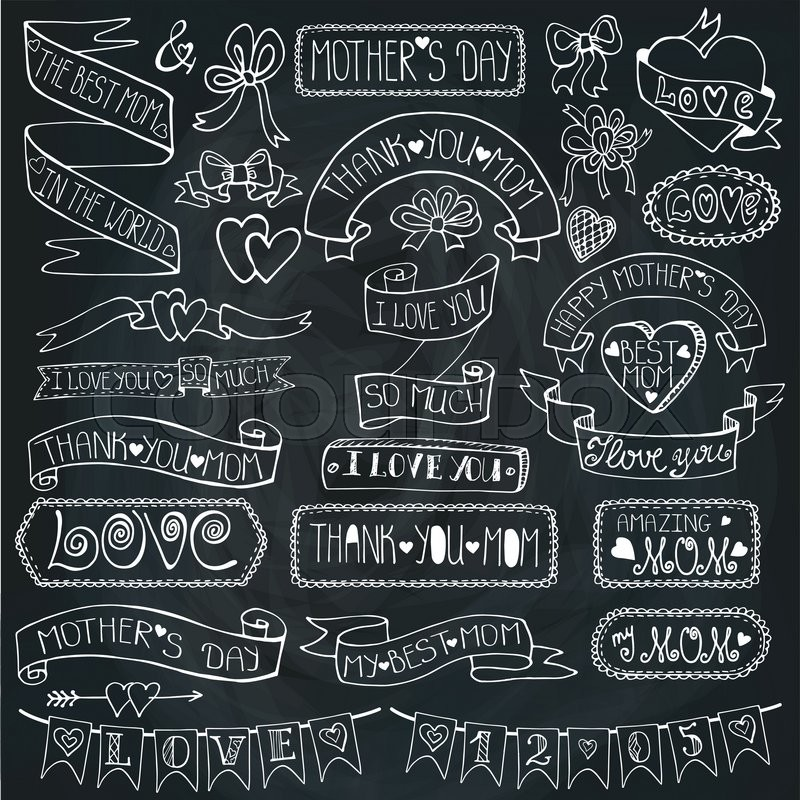 Mothers day chalk decor elements and lettering setDoodle hand - chalkboard writing template