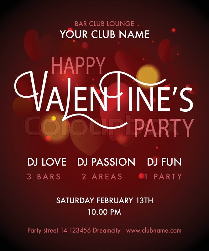 Happy Valentine\u0027s Day Party Flyer Valentine\u0027s Day Party design