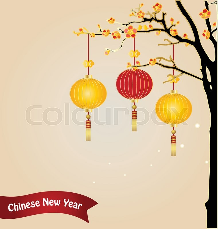Chinese new year background with Stock Vector Colourbox