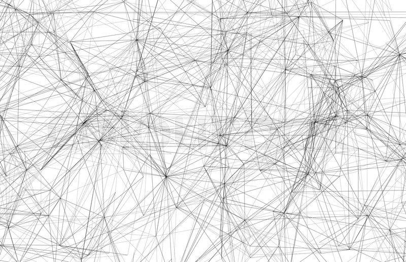 Abstract digital background, black wire-frame mesh over white