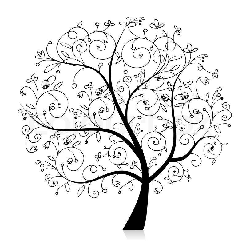 Art tree beautiful, black silhouette for your design Stock Vector