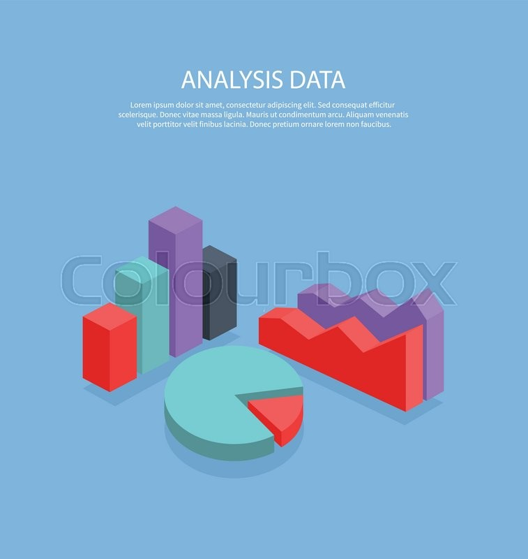 Isometric 3D analysis data Isometric pie chart flat design Graph