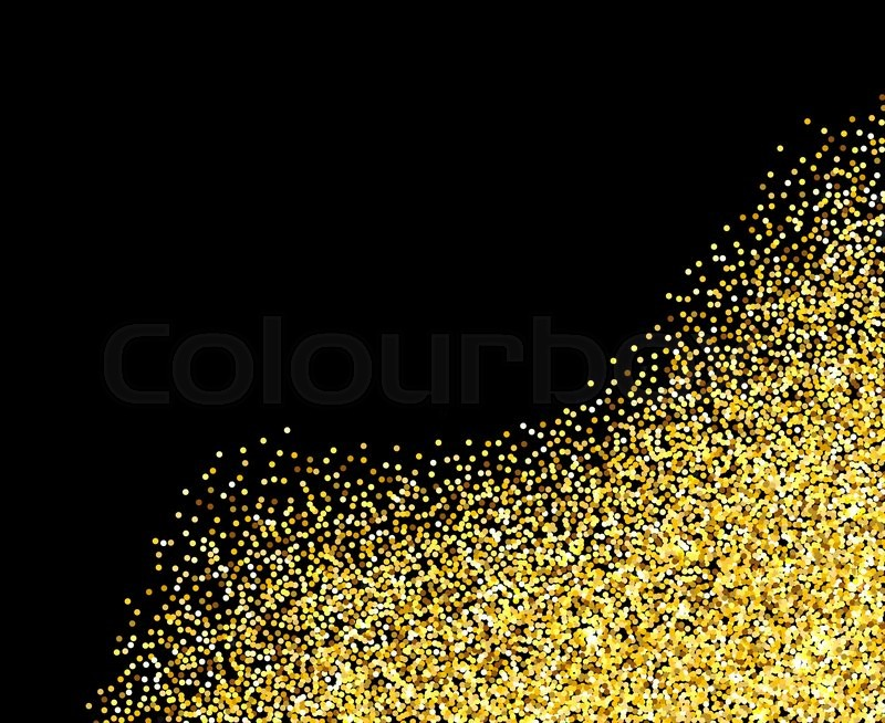 Gold glitter texture border over black background Abstract golden - black border background