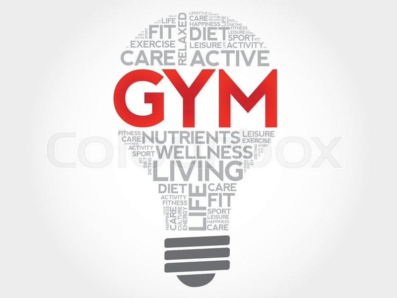 GYM bulb word cloud, health concept Stock Vector Colourbox