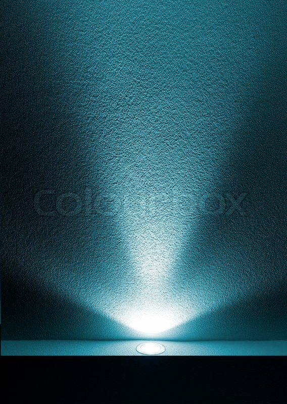Blue Light Beam from Projector on Black Background Stock Photo