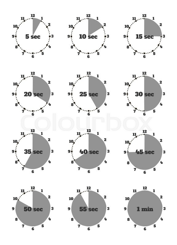 Set of time second stopwatch design flat Clock and stopwatch icon - set timer to 1 minute