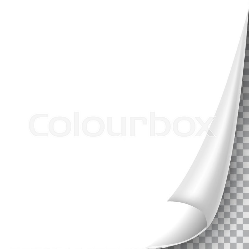 Blank sheet of paper with page curl Stock Vector Colourbox