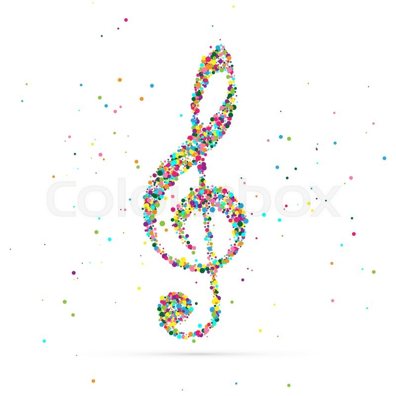 Treble clef symbol consisting of colored particles Logo Template - treble clef template