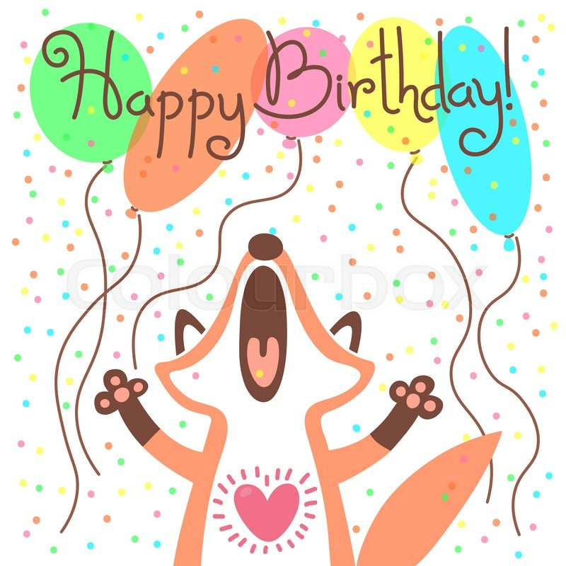 Cute happy birthday card with funny fox Vector illustration Stock