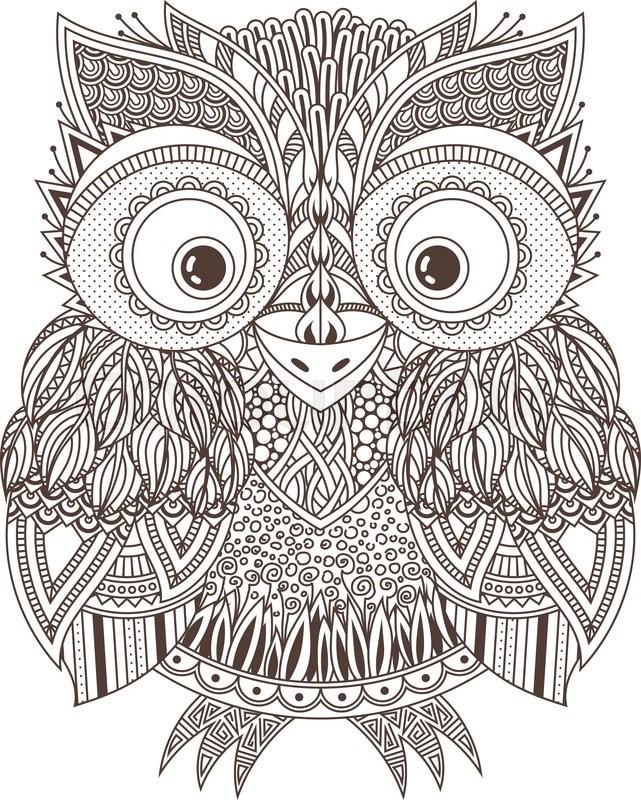 Cute Mandala Wallpaper Vector Zentangle Owl Illustration Ornate Patterned Bird