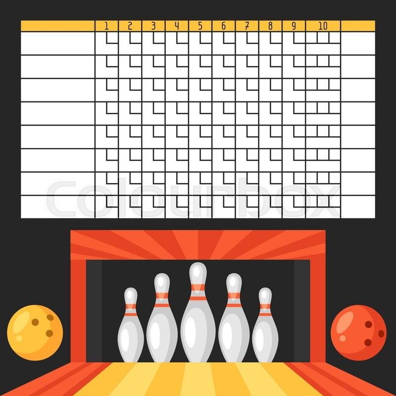 Bowling score sheet Blank template Stock Vector Colourbox