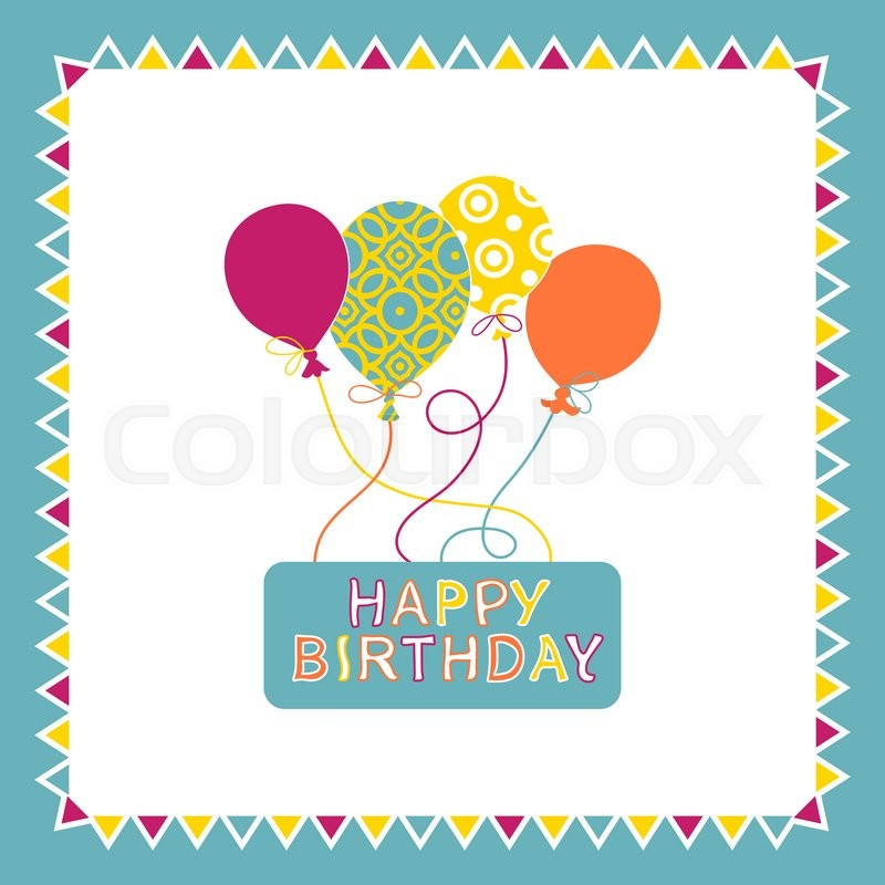 Happy birthday card design with balloons, creative greeting card - birthday card template