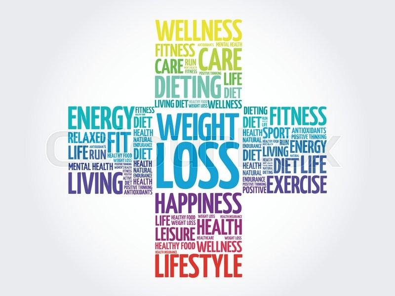 Weight Loss word cloud, health cross Stock Vector Colourbox