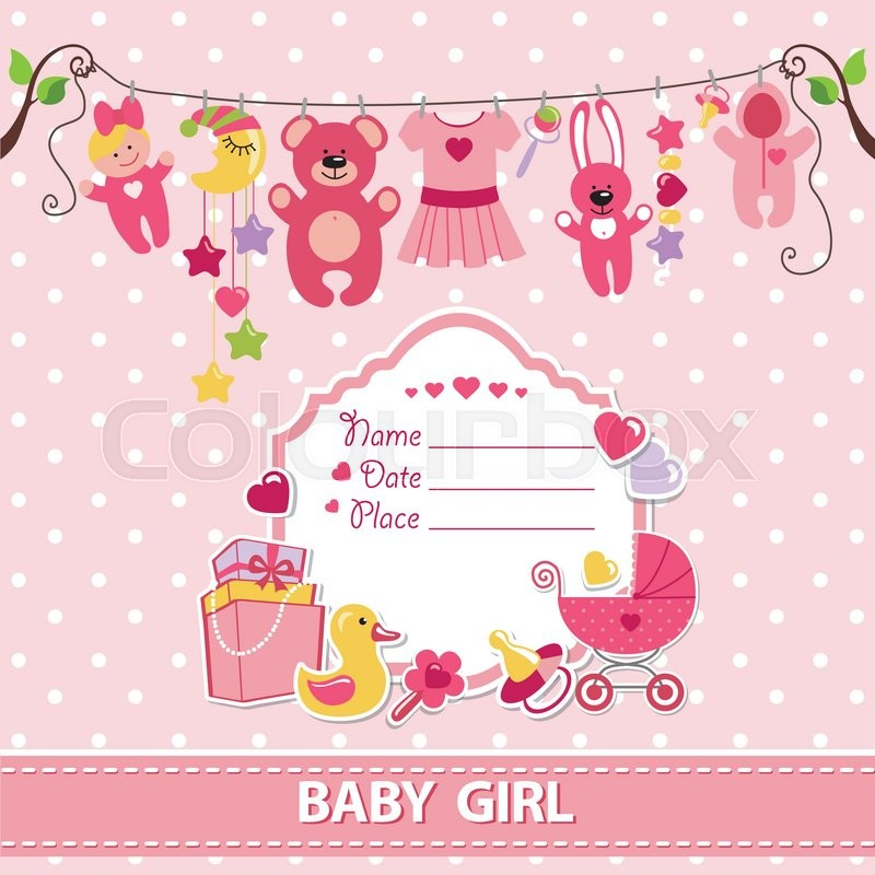 New born Baby girl invitation shower cardFlat elements hanging on
