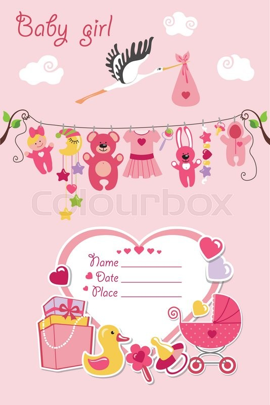New born Baby girl invitation shower cardFlat elements hanging on - greeting for new baby girl