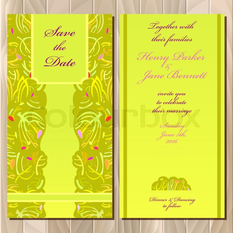 Wedding invitation spring summer green yellow card design - guest card template