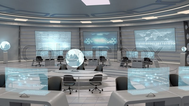 3d Holograms Wallpaper Futuristic Interior View Of Office With Stock Photo