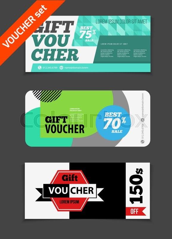 Gift voucher vector set Sale voucher vector illustration Store - discount voucher design