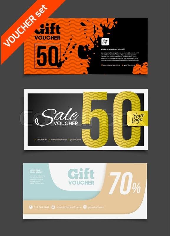 Gift voucher vector set Sale voucher vector illustration Store