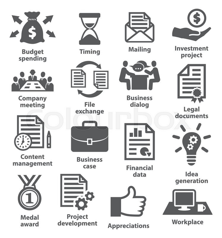 Business project planning icons on white Stock Vector Colourbox - project planning