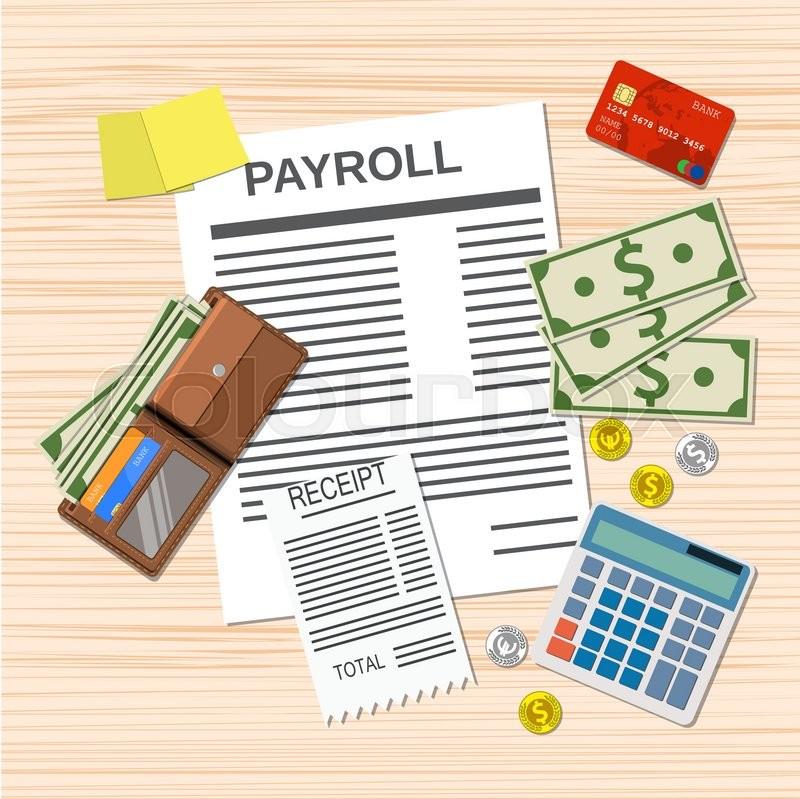 Payroll concept payroll invoice sheet, check receipt, calculator - payroll receipt