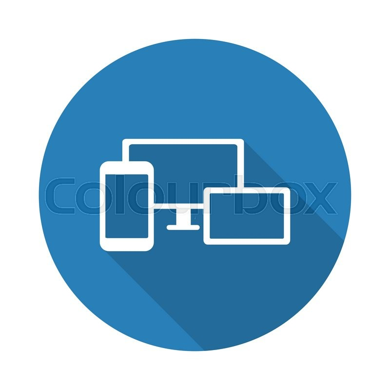 Flat white Responsive Media Design web Stock Vector Colourbox