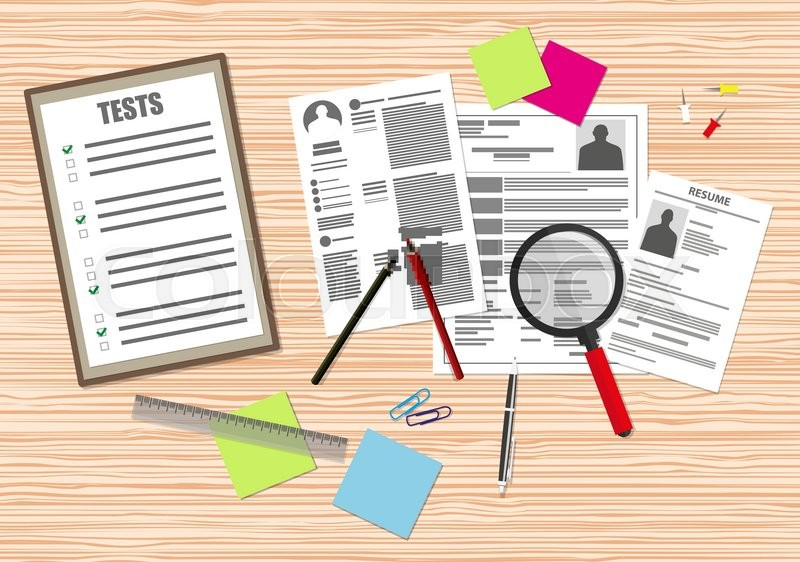 Human resources management concept, searching professional staff - professional resume paper