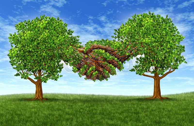 Business partnership growth success with two growing gree trees in