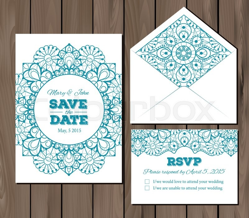 Wedding set with lace elements Save the date invitation, RSVP card