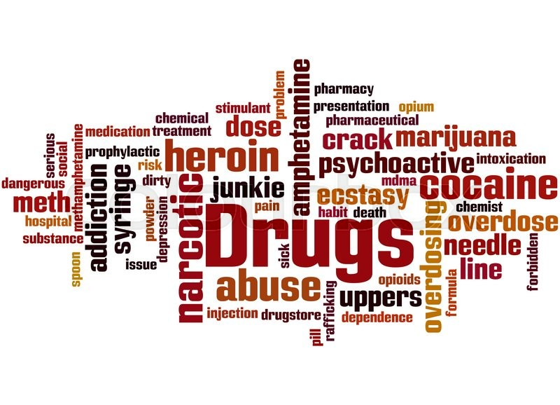 Drugs, word cloud concept on white background Stock Photo Colourbox