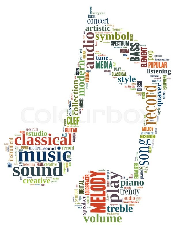 Music note, word cloud concept on white background Stock Photo