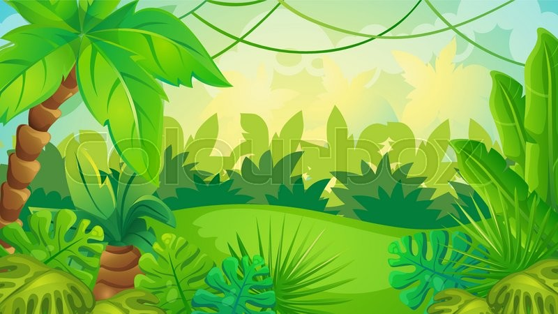 Colorful Animal Print Wallpaper Vector Cartoon Game Background Of Green Jungle Landscape