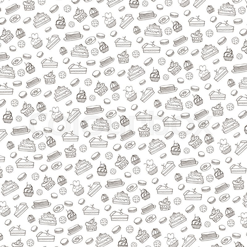 Cute Tribal Patterns Wallpaper Doodle Vector Bakery Cakes And Dessert Pastries Linear